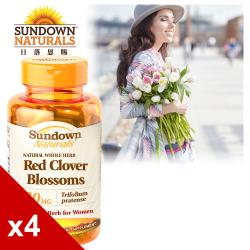 【美國Sundown日落恩賜】高單位頂級紅花苜蓿膠囊x4瓶組(100粒/瓶)(效期至2021/8/31)