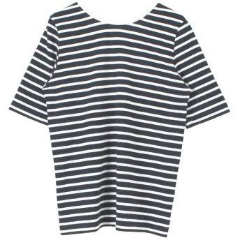 ティティベイト titivate バックラウンドボーダーカットソーTシャツ (ネイビー/オフホワイト)