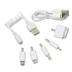行動電源 USB轉接線+轉接頭*5顆(白色) 有MICRO USB IPHONE4