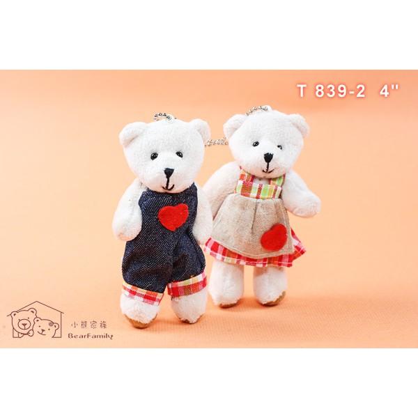 甜蜜樂活鄉村情侶熊 穿圍裙 牛仔吊帶褲 吊飾 身高10公分 小熊家族 泰迪熊專賣