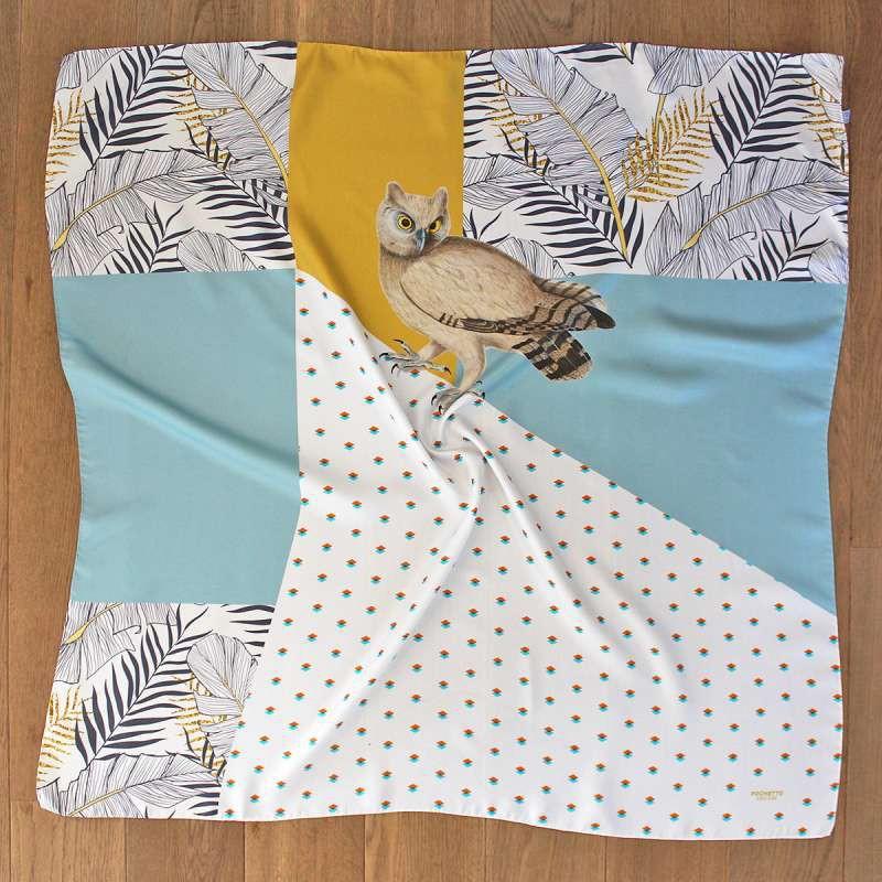 絲巾100X100公分 / 棕櫚貓頭鷹 / 義大利手工製 / 含禮盒包裝 / 雅痞士