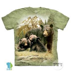 摩達客 (預購)(大尺碼3XL)美國進口The Mountain 黑熊家族 純棉環保藝術中性短袖T恤