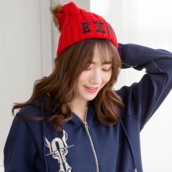 imaco 針織保暖造型帽(紅)