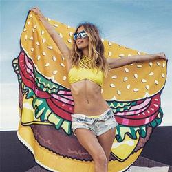 漢堡披薩薯條甜甜圈食物歐美仿真防曬沙灘巾野餐墊(4款可選)