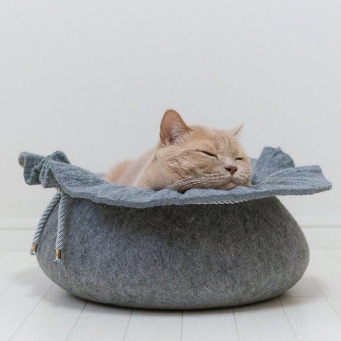 《齊洛瓦鄉村風雜貨》日本zakka雜貨 貓咪造型貓床 貓咪無困擾貓床 可愛貓窩 保暖貓床 貓鍋 仿束口袋造型貓床