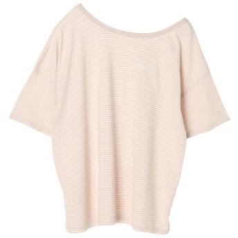 イーハイフンワールドギャラリー E hyphen world gallery ボーダー刺繍入りTシャツ (Beige)
