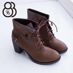 【88%】騎士短靴踝靴 英倫學院風6.5cm高跟粗跟 反摺扣環設計繫帶 2色