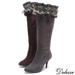 【Deluxe】全真皮可拆式巴洛克蕾絲尖頭拉鍊高跟長靴(咖☆灰)-1012-2