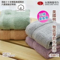 美國棉*雅痞雙股加厚大方巾(12條 整打裝) ~.~台灣興隆毛巾製~.~ 吸水力佳