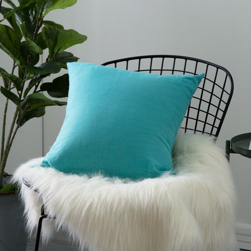 北歐風素色棉麻抱枕-土耳其藍