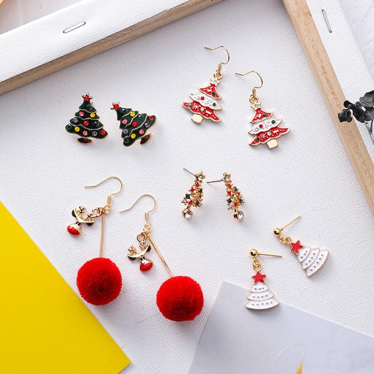 新款甜美時尚聖誕節耳環 可愛麋鹿聖誕樹耳釘 節日氣質個性毛球耳墜