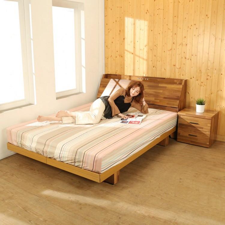 BuyJM 拼接木紋系列雙人5尺6尺房間組2件組/床頭箱+日式床底 BE021