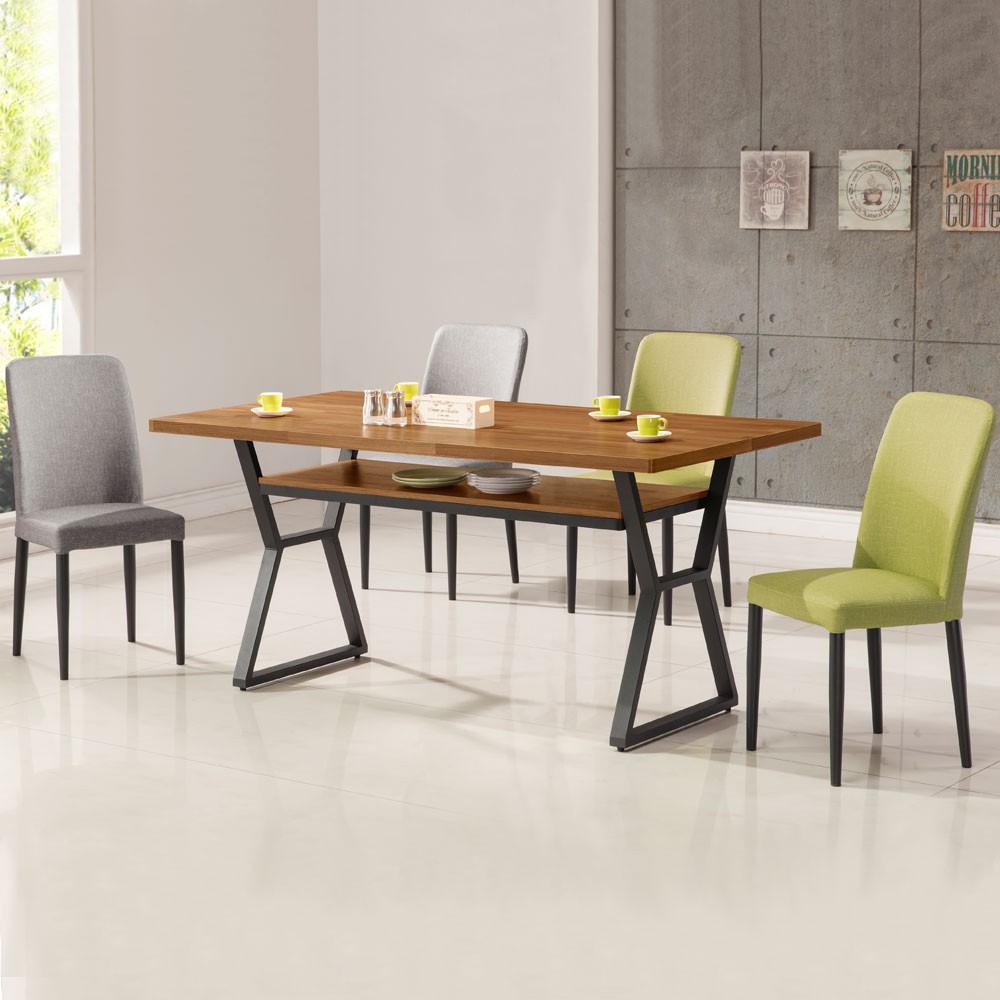 YoStyle 愛德琳工業風5尺餐桌椅組(一桌四椅) 餐桌 餐椅 會議桌椅 工業風餐桌椅 專人配送安裝