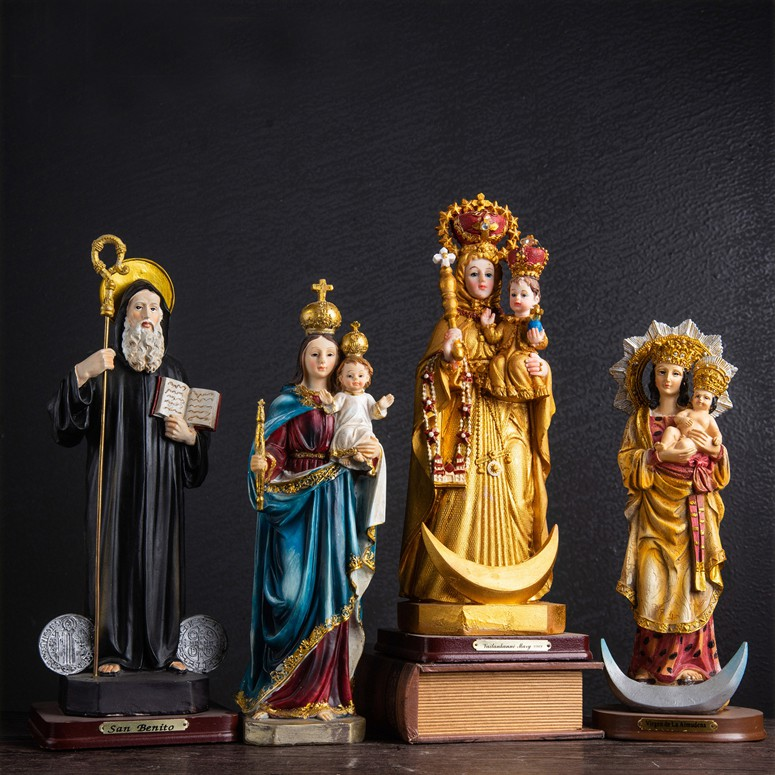 【JesusArt】天主教聖物 鎏金工藝 聖本篤聖像 進教之佑聖母聖像 聖母子聖像 西班牙 馬德里 阿穆德納聖母聖像