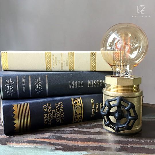 【曙】復古風黃銅水管桌燈 轉輪調光 造型檯燈 Loft 工業風 咖啡廳 餐廳 居家擺設