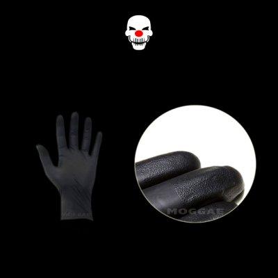 AMMEX指尖麻面防滑手套愛馬斯黑色橡膠手套清潔防護丁晴NBR無粉刺青紋身師美髮美甲師廚房-MOGGAE魔鬼刺青紋身器材