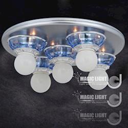 【光的魔法師 Magic Light】藍水晶吸頂 五燈 烤漆底盤