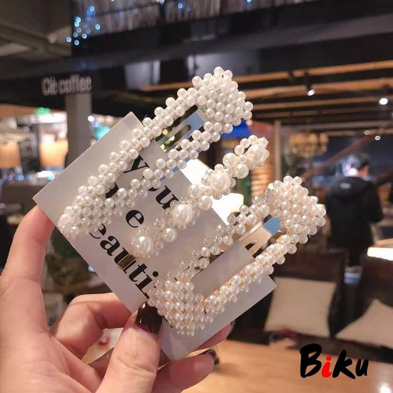 韓國甜美珍珠髮夾 少女劉海BB夾 一字夾 鴨嘴夾-BIKU/B酷