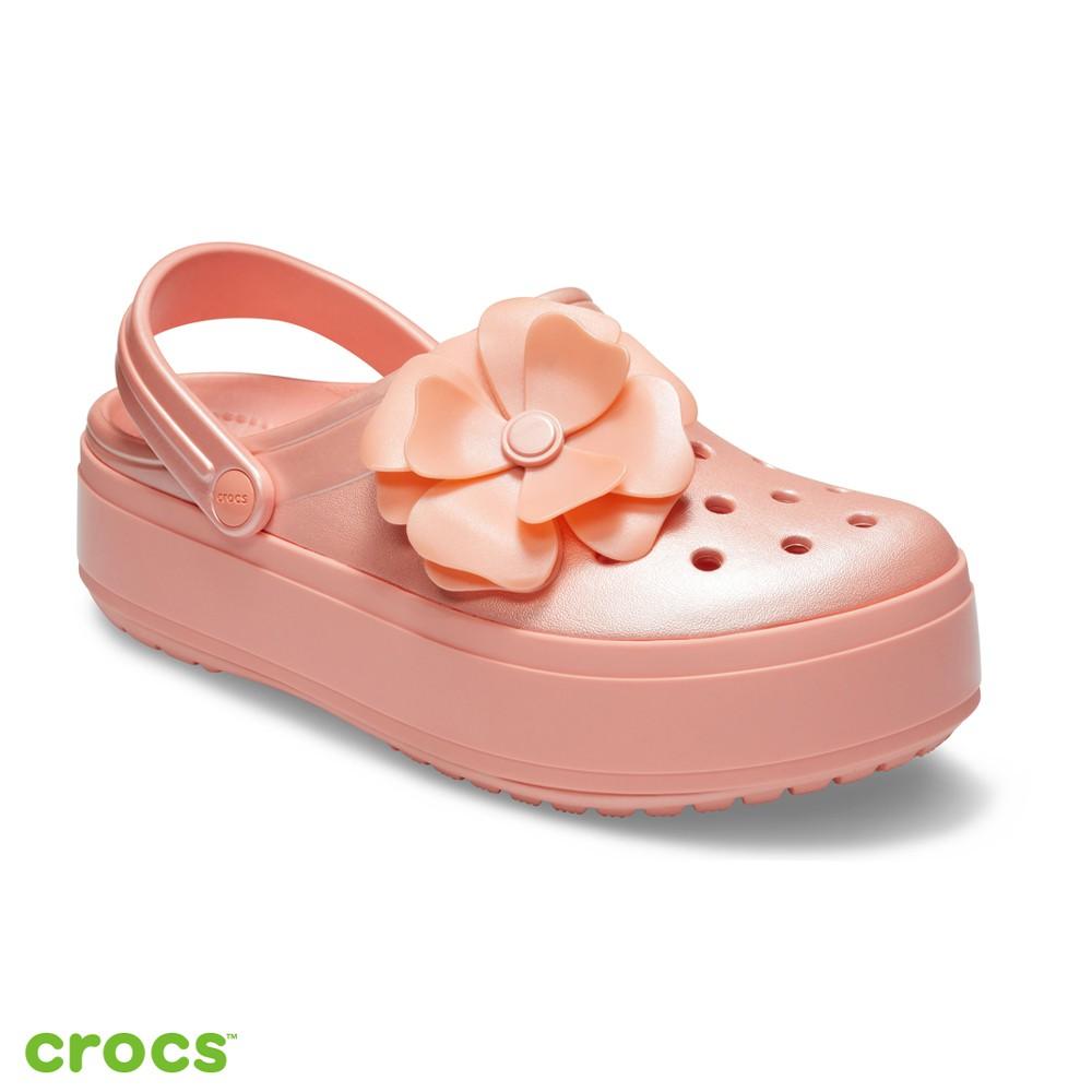 Crocs卡駱馳 (中性鞋) 立體花朵厚底卡駱班-205746-737