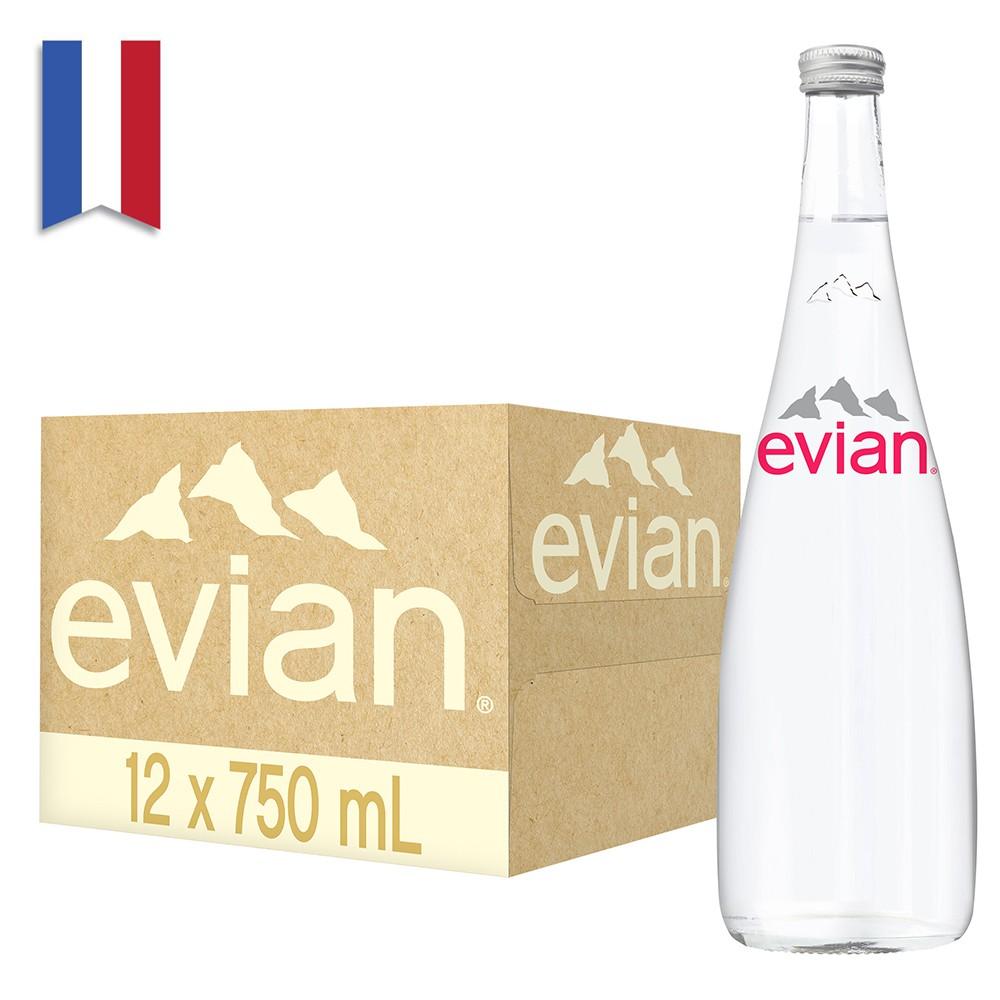法國evian依雲天然礦泉水(750mlx12入 玻璃瓶)【台灣官方Evian】