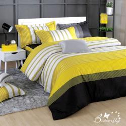 BUTTERFLY-台製40支紗純棉-薄式加大雙人床包枕套三件組-舞動青春-黃