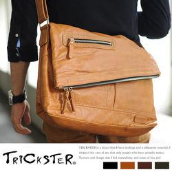 【TRICKSTER】日本品牌 斜背包 折疊包 A4 大尺寸 側背包 復古皮革感 都會潮流【tr52】4色