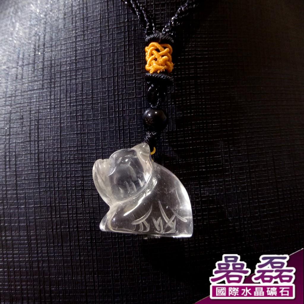 白水晶 十二生肖 諸事如意 豬造型 項鍊《碞磊國際水晶礦石》【編號】CDWB0014