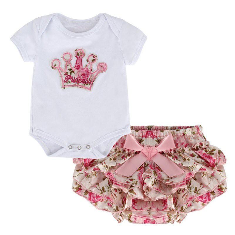 嬰兒包屁衣 套裝 寶貝女孩可愛印花皇冠連身衣 爬服 女嬰寶寶甜美純色連體哈衣+可愛pp短褲 兩件套【IU貝嬰屋】