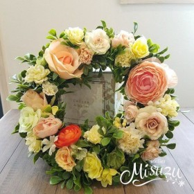 リース(造花) 玄関に 贈り物 ギフト 永遠の象徴♪ オレンジ系