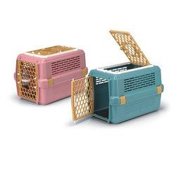 皇冠 843兩門雙開有天窗運輸籠 粉色/藍色 寵物專用 有防誤開設計 犬貓外出