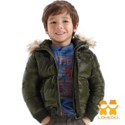 LOVEDO-艾唯多童裝 極簡奢華 保暖毛毛連帽鋪棉外套(墨綠) J1102323