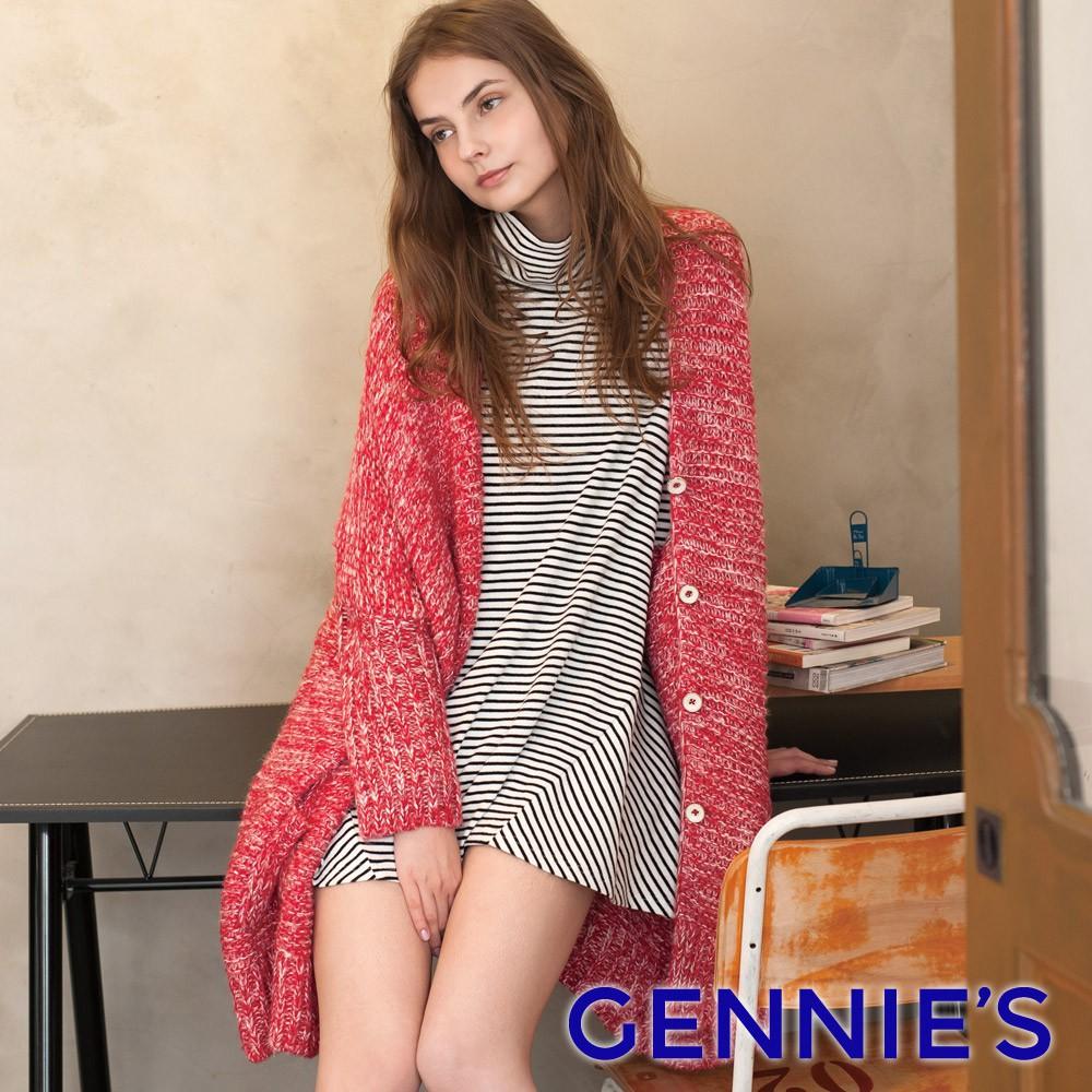 針織寬鬆長版外套(紅)TS803-Gennies奇妮
