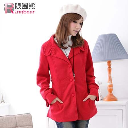 眼圈熊 中大尺碼 保暖禦寒首選西裝領素面收腰短大衣(黑.紅M-2L)-J97