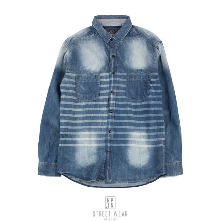 REPUTATION Stripe Washed Denim Shirts - 條紋迷彩水洗襯衫