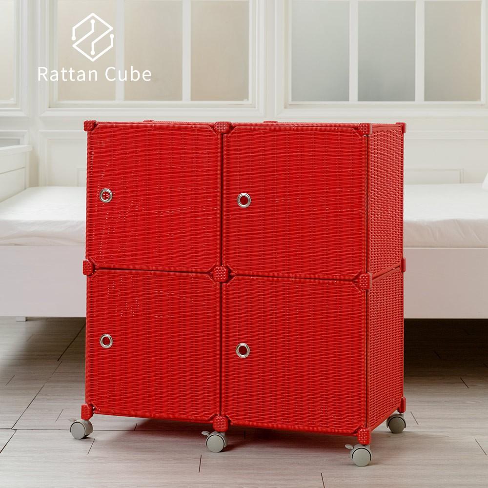 【藤立方】組合2層4格收納置物櫃(4門板+附輪)DIY