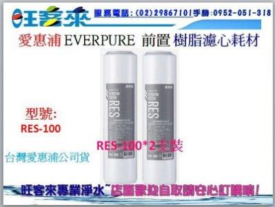 EVERPURE愛惠浦公司貨10吋樹脂濾心 RES-100(RES-800)【二支裝】另有PF-105、GAC-100