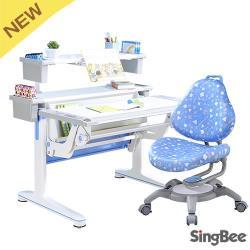 【SingBee】氣壓桌+上層板書架+133椅