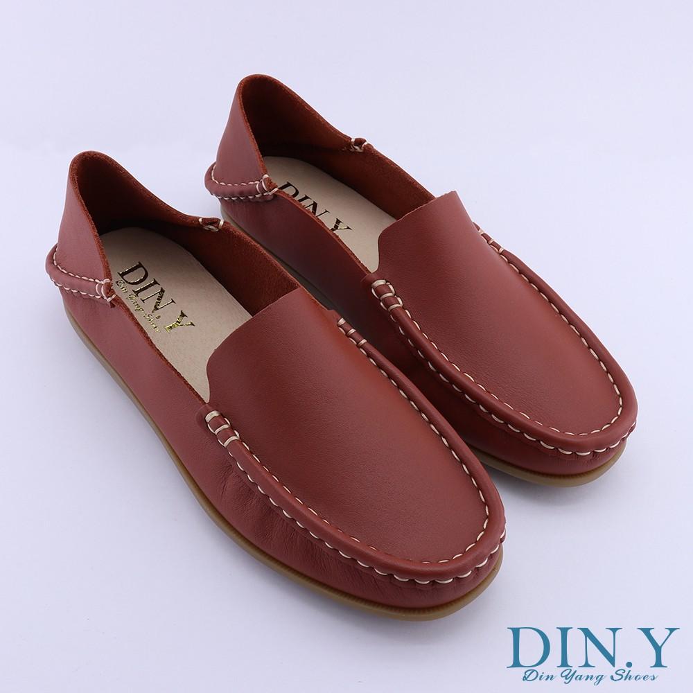 DIN.Y / S021-04 / 可水洗後踩懶人鞋(紅磚色) 平底鞋/ 休閒鞋 /輕量化/ 韓系簡約/素面/真皮/女鞋