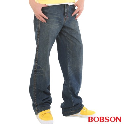 BOBSON 男款貓鬚大直筒牛仔褲1713-53