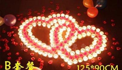 雙愛心防風蠟燭套餐 燭芯加粗更亮不易熄,送玫瑰花瓣+範例圖【排字/活動/婚禮/求婚/情人節】