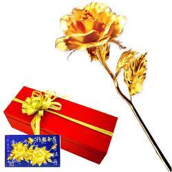 [開運陶源]黃金 玫瑰花 贈精美卡片 金箔花禮品