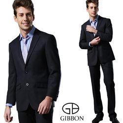 GIBBON 輕光澤星紋毛料成套西裝/平口褲‧深藍