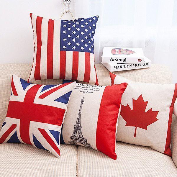 世足賽 國旗風 歐美紅藍國旗系列棉麻抱枕套 枕頭套【RI1280】《Jami》