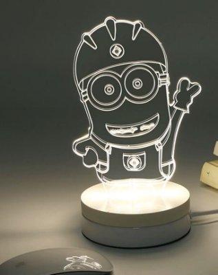 《美學空間》立體3D視覺光雕座燈‧小夜燈‧療癒氣氛燈-聖誕禮物‧情人節禮物‧生日禮物‧喬遷新居賀禮-小小兵款