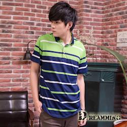 【Dreamming】亮彩配色條紋休閒棉質短POLO衫(共三色)
