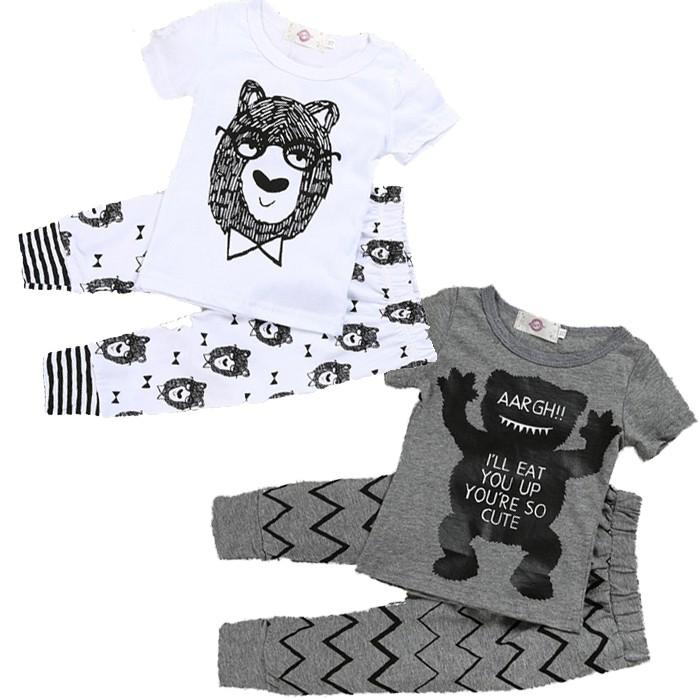 嬰兒短袖套裝 卡通小熊 短袖上衣+長褲二件式童裝 SK160 好娃娃