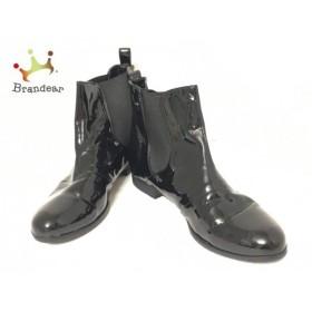 バークレー BARCLAY ショートブーツ 24 レディース 黒 サイドゴア エナメル(合皮)×化学繊維 新着 20190619