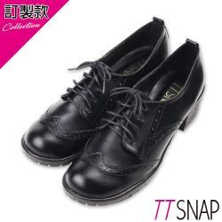 TTSNAP紳士鞋-雕花文青綁帶中跟鞋 黑/棕