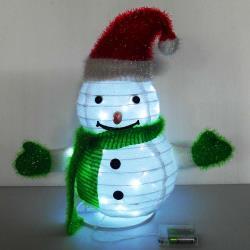 摩達客 聖誕彈簧折疊小雪人 (LED燈電池燈)擺飾 (42cm) 方便輕巧好收納