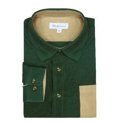 【MURANO】男款休閒撞色燈芯絨長袖襯衫 - 綠 / 卡其